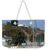 Sailboat At Anchor In Harbor Weekender Tote Bag