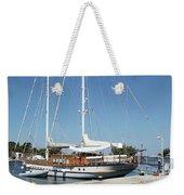 Sailboat In Harbor Summer Vacation Scene Weekender Tote Bag
