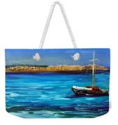 Sailboat Off Karpathos Greece Greek Islands Sailing Weekender Tote Bag