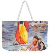 Sailboat Painting In Watercolor Weekender Tote Bag