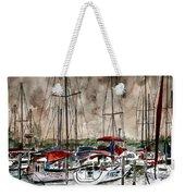 Sailboats At Night Weekender Tote Bag