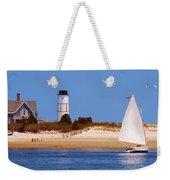 Sailing Around Sandy Neck Lighthouse Weekender Tote Bag