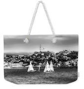 Sailing Boat  Black-and-white Weekender Tote Bag