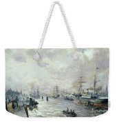 Sailing Ships In The Port Of Hamburg Weekender Tote Bag
