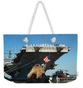 Sailors Aboard Aircraft Carrier Uss Weekender Tote Bag
