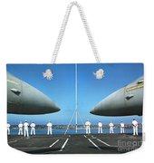 Sailors Aboard The Aircraft Carrier Uss Nimitz  Weekender Tote Bag