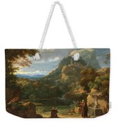 Saint Anthony Of Padua Introducing Two Novices To Friars In A Mountainous Landscape Weekender Tote Bag