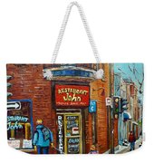 Saint Henri Street In Winter Weekender Tote Bag