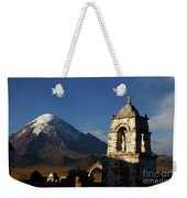 Sajama Volcano And Lagunas Church Belfry Bolivia Weekender Tote Bag