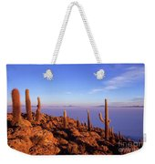Salar De Uyuni And Cacti At Sunrise Weekender Tote Bag