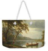 Salmon Fishing On The Caspapediac River Weekender Tote Bag by Albert Bierstadt