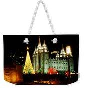 Salt Lake Temple Christmas Tree Weekender Tote Bag by La Rae  Roberts