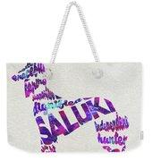 Saluki Dog Watercolor Painting / Typographic Art Weekender Tote Bag