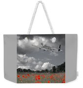 Salute To The Brave - P51 Flying Over Poppy Field Weekender Tote Bag