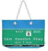 Sam Houston Pkway Weekender Tote Bag