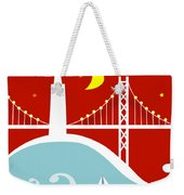 San Francisco California Vertical Scene - East Bay Bridge And Boat Weekender Tote Bag