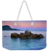 Sand Rocks In The Sea At Sunset Weekender Tote Bag
