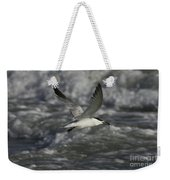 Sandwhich Tern Flies Over Stormy Waves Weekender Tote Bag