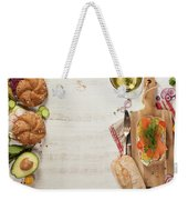 Sandwich With Salmon, Cucumber, Cream Cheese, Dill And Tomatoe Weekender Tote Bag