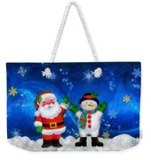 Santa And Frosty Painting Image With Canvased Texture Weekender Tote Bag