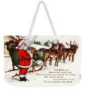 Santa And His Reindeer Greetings Merry Christmas Weekender Tote Bag