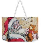 Santa And Teddy Weekender Tote Bag