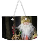 Santa Claus Doll In Green Suit With Forest Background. Weekender Tote Bag