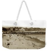 Santa Cruz Beach With Ideal Fish Restaurant 1930's Weekender Tote Bag