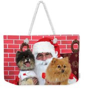 Santa Paws With Two Dogs Weekender Tote Bag