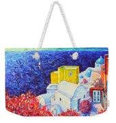 Santorini Oia Colors Modern Impressionist Impasto Palette Knife Oil Painting By Ana Maria Edulescu Weekender Tote Bag