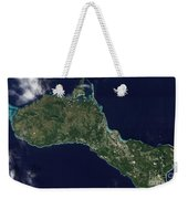 Satellite View Of The Island Of Guam Weekender Tote Bag