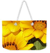 Satin Yellow Florals Weekender Tote Bag