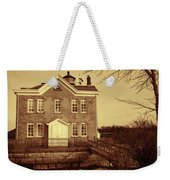 Saugerties Lighthouse Sepia Weekender Tote Bag by Nancy De Flon