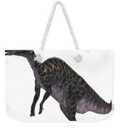 Saurolophus Dinosaur On White Weekender Tote Bag