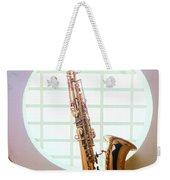 Saxophone In Round Window Weekender Tote Bag