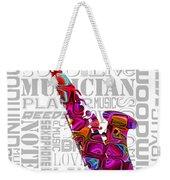 Saxophone With Word Background Weekender Tote Bag