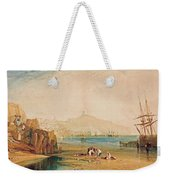 Scarborough Town And Castle Morning Boys Catching Crabs Weekender Tote Bag