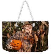 Scarecrow With A Carved Pumpkin  In A Corn Field Weekender Tote Bag