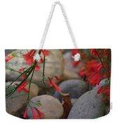 Scarlet Bugler Blossoms On Rocks Weekender Tote Bag