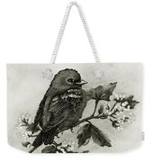Scarlet Tanager - Black And White Weekender Tote Bag