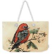 Scarlet Tanager - Vintage Weekender Tote Bag