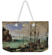 Scene Of A Sea Port Weekender Tote Bag by Paul Bril