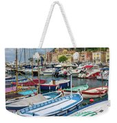 Scenic View Of Castle Hill And Marina In Nice, France Weekender Tote Bag