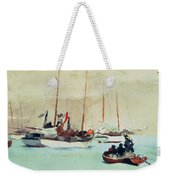 Schooners At Anchor In Key West Weekender Tote Bag by Winslow Homer