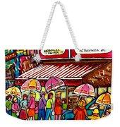 Schwartz's Deli Rainy Day Line-up Umbrella Paintings Montreal Memories April Showers Carole Spandau  Weekender Tote Bag