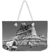 Scots Bluff Black And White Weekender Tote Bag