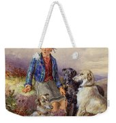 Scottish Boy With Wolfhounds In A Highland Landscape Weekender Tote Bag by James Jnr Hardy