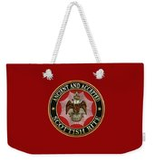 Scottish Rite Double-headed Eagle On Red Leather Weekender Tote Bag