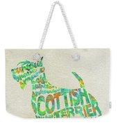Scottish Terrier Dog Watercolor Painting / Typographic Art Weekender Tote Bag