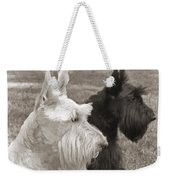 Scottish Terrier Dogs In Sepia Weekender Tote Bag